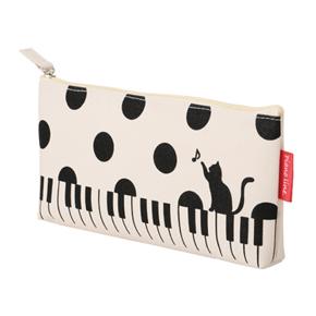 Piano line マチありペンケース(ねこと水玉)