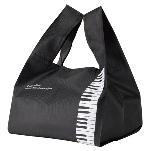 Piano line マチ広エコバッグ(鍵盤)