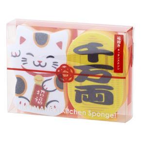 福招きキッチンスポンジ(2個組)