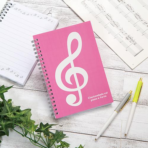 ミュージックライン リングノート B6(ト音記号) ピンク