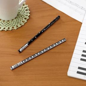Piano line 2B 丸型黒芯鉛筆(音符)ブラック