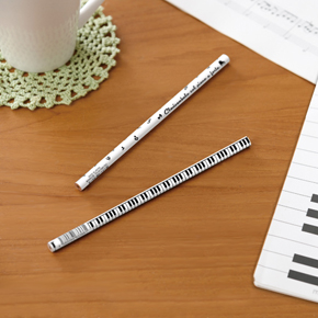 Piano line 2B 丸型黒芯鉛筆(音符)ホワイト