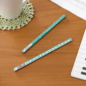 Piano line 2B 丸型黒芯鉛筆(音符)グリーン