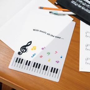 Piano line B5下敷(カラフル音符)
