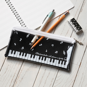 Piano line クリアペンケース(音符)ブラック