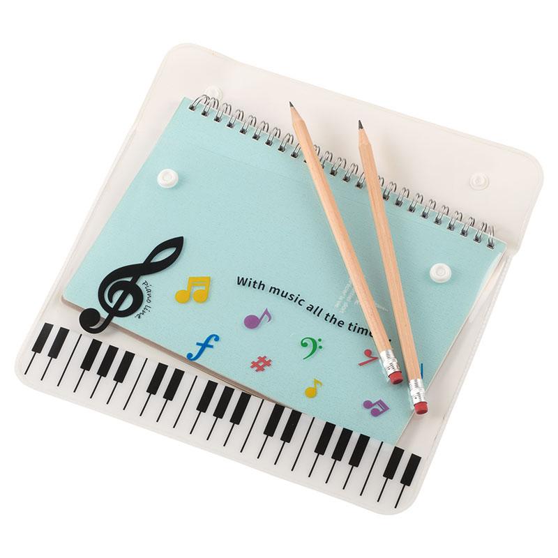 Piano line フラットポーチA5(カラフル音符)