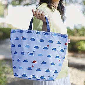 富士山柄 小さくたためるマイバッグ